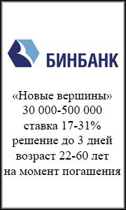 Кредит наличными  Бинбанк