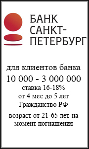 Кредит наличными  Банк Санкт-Петербург